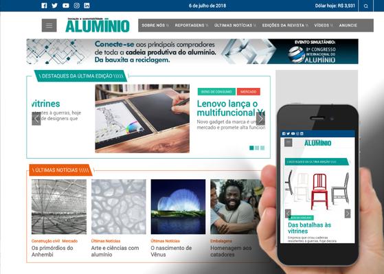 Screenshot do site Revista Alumínio
